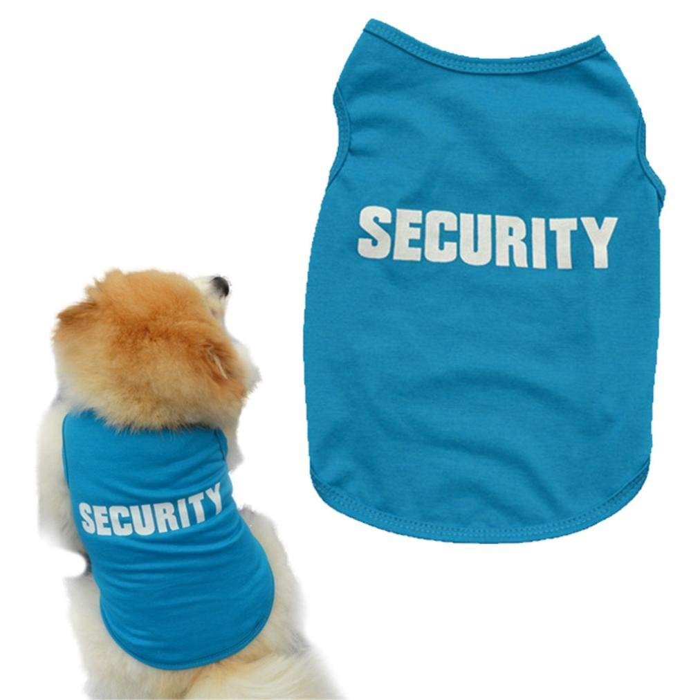 Howstar Pet Clothes, Fashion Puppy Vest Security Print Dog Shirt for Small Dogs Apparel (M, Blue)