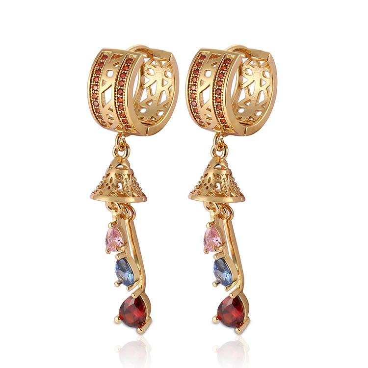 HD New Fashion Hot Sale 18K Gold Plated AAA Cubic Zirconia Huggies Earring For Women