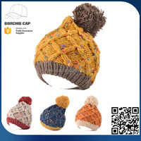 Wholesale Acrylic thick woolen slouchy hat tie dye Promotional plain pom pom knitted beanie hat for ladies