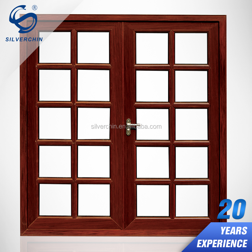 Exterior Decoraive Pattern Entry Doors Fire Rated Aluminum Frame Solid Fiber Double Swing Glass Door