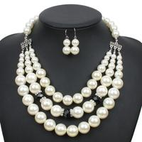 Multilayer necklace earring jewelry stes Wholesale 2016 New style Pearl Jewelry Set with HIGH imitation pearls