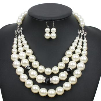 62f6700398 Wholesale 2018 New Style Pearl Jewelry Set Imitation Pearls Bead Multilayer  Necklace Earring Jewelry Sets