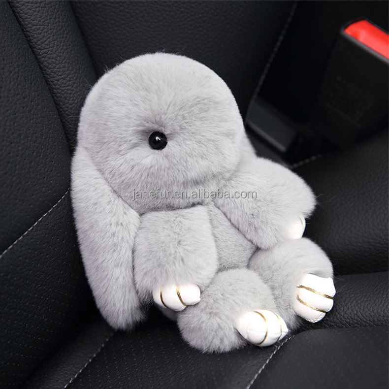 Popular lovely shape pendant rex rabbit fur keychain