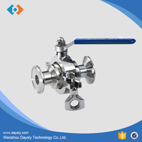 High quality stainless three way triclamp quick install ball valve