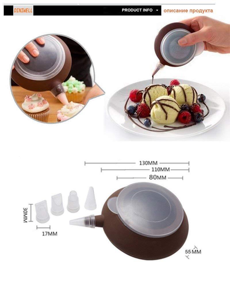 Macaron Tools - Kitchen Decorating Tip Sets Decorative Silicone Cake Muffin Macaroon Macaron Piping icing Baking Tool Pot 4 Nozzles Set- Silicone Piping Pot