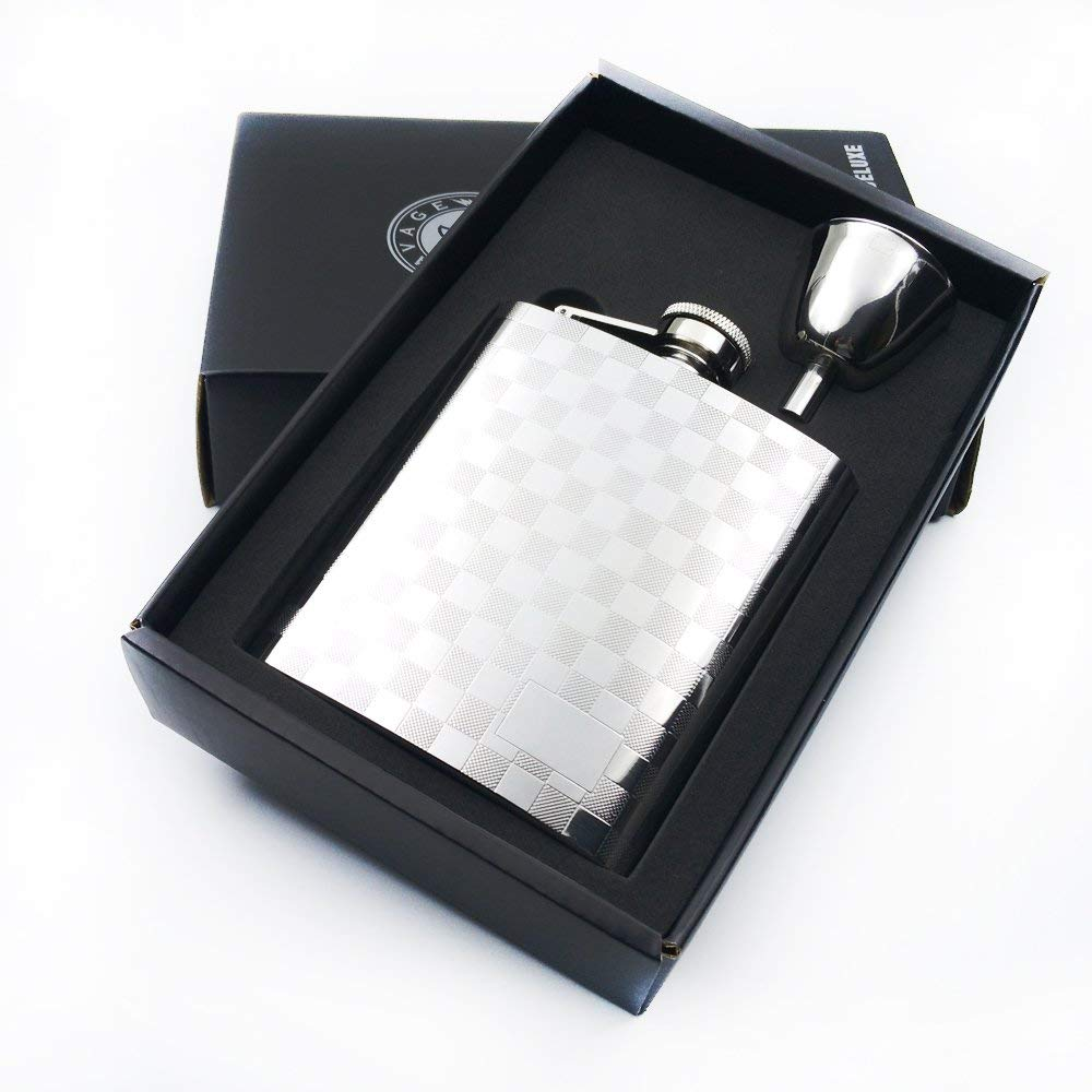 Savage 8oz Flask Gift Set with 1pc Flask Mat Engraved and 1pc Funnel 18/8 Stainless Steel Mirror Finished