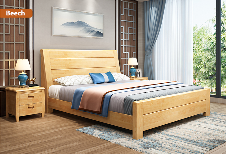 Light Colour Solid Wood Beech Double Bed Wooden Home Furniture