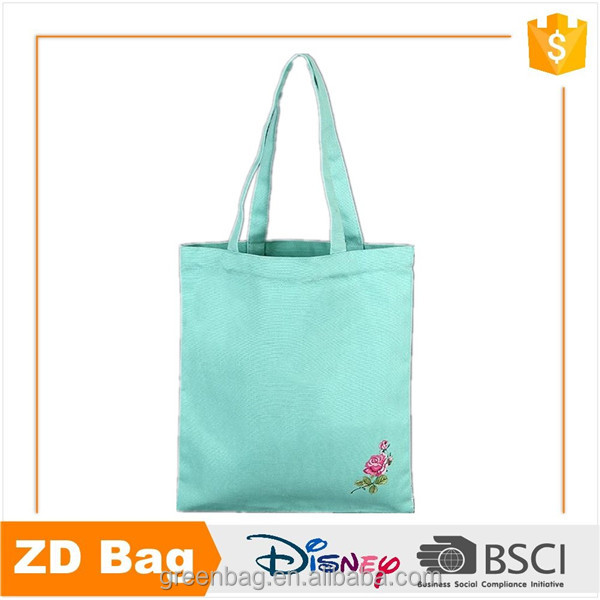 Green cotton/canvas tote disposable shopping bag