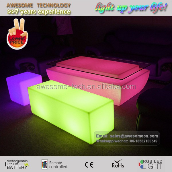 special event furniture led glow Rectangular Ottomans (bs120)