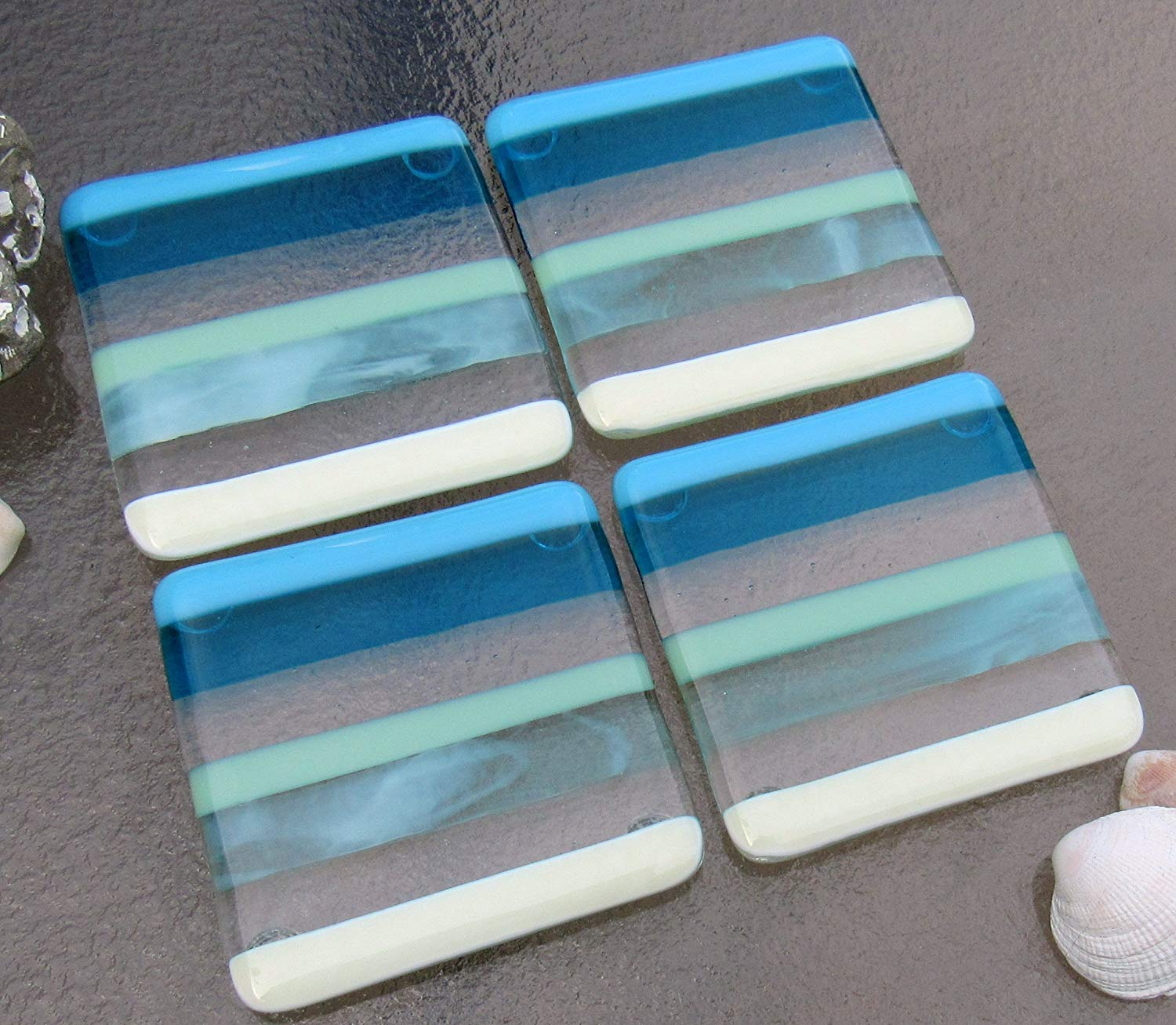 Fused Glass Coasters Beach House Decor Ocean Beach Coasters with Blue Stripes Summer Glass Set of 4 Coasters Beach House Decor