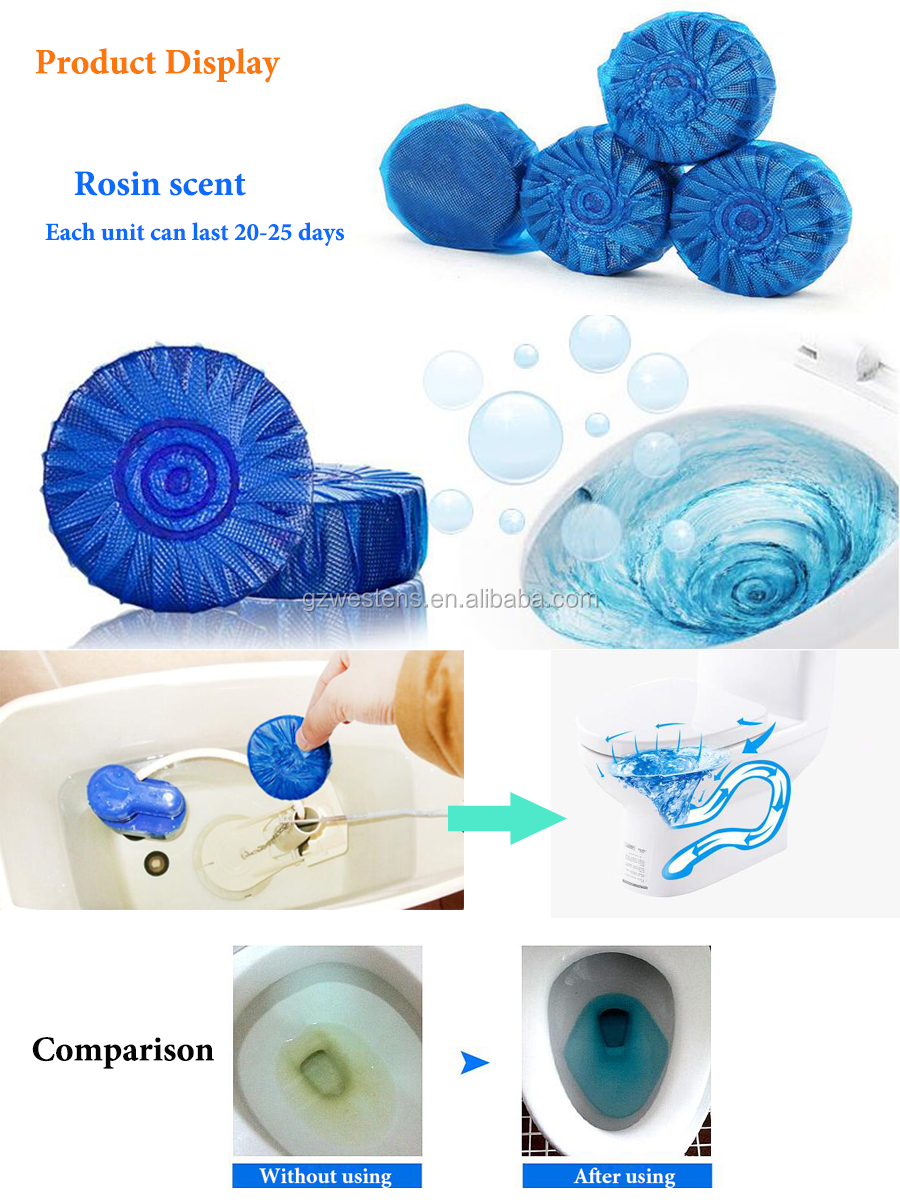 Wholesale Toilet bowl cleaner flush blockh blue bubble deodorant urinal cakes