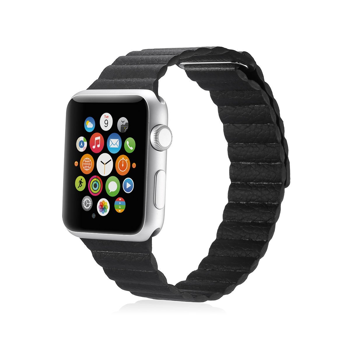 Apple iWatch Band, Fit to Series 1 and Series 2, Leather Bracelet with Magnetic Adjustable Closure, 42mm, Leather Loop Band, Black