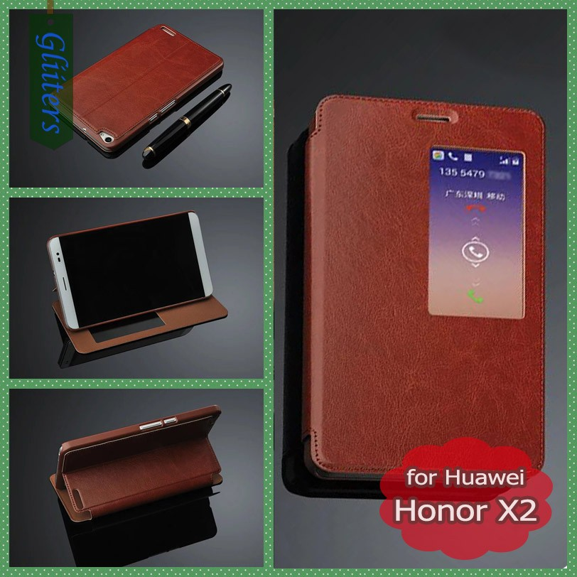 Gliiters flip leather back covercase for huawei honor x2 case mediapad x2 case phone <strong>accessories</strong> mobile wholesale