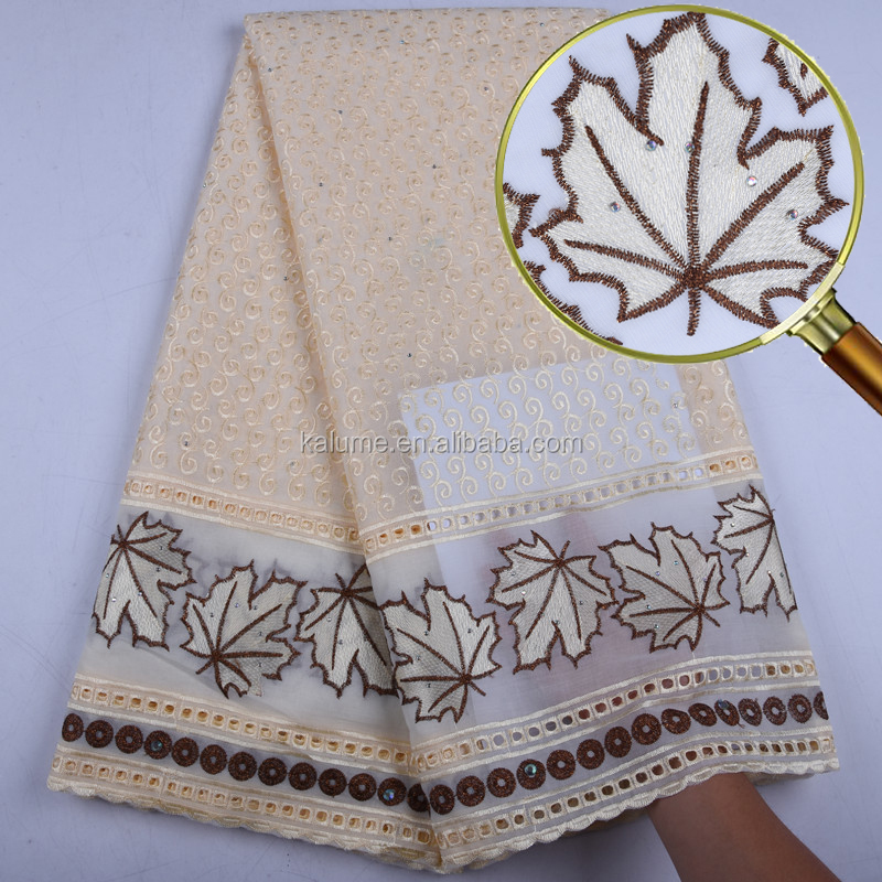 Embroidery Swiss Voile Cotton Lace Fabric For Party Or Wedding Dress High Quality Dry Cotton Fabric For Dress  1562