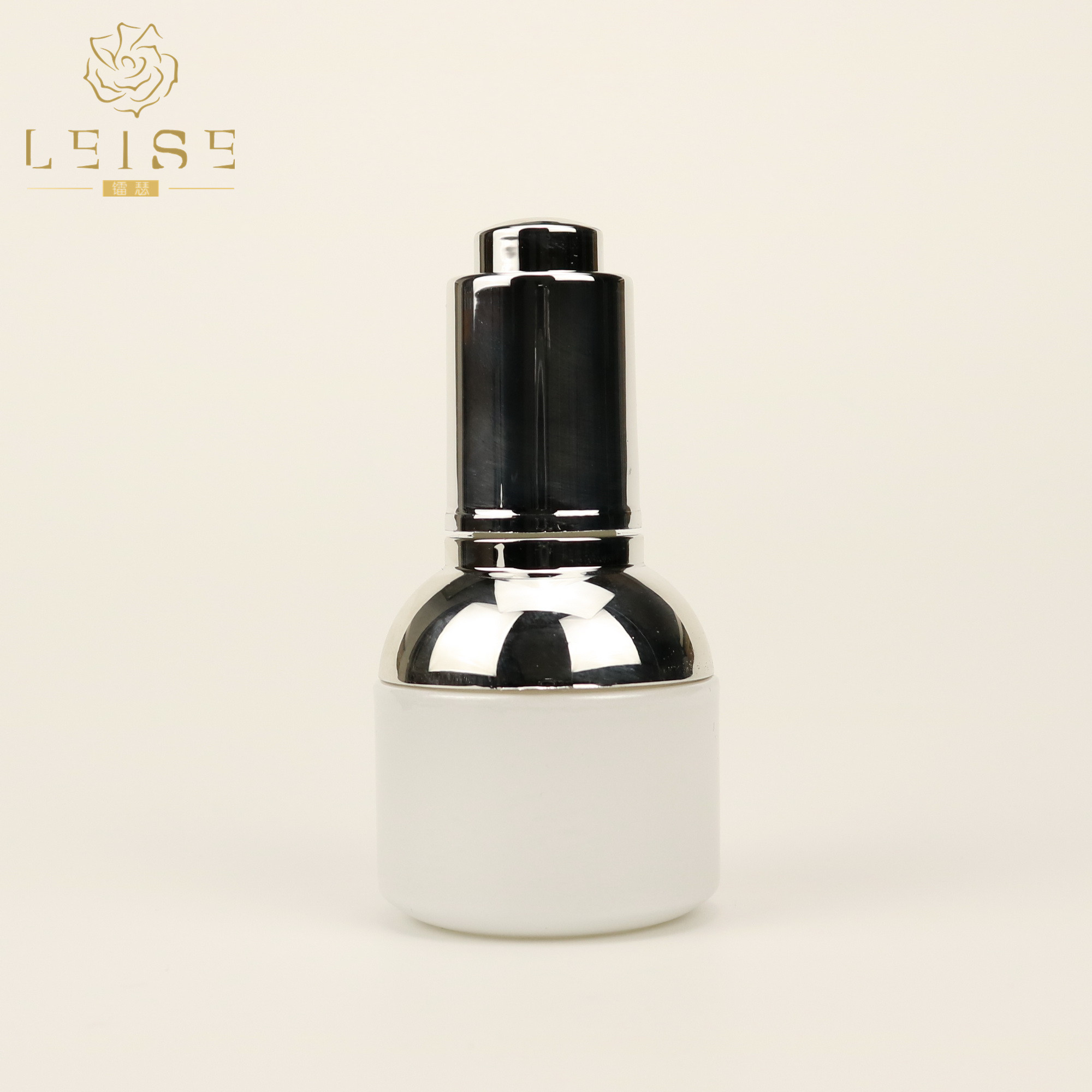 White Silver Luxury Essential Oil Glass Dropper Bottle, Wholesale Empty Cosmetic Glass Bottle with  Dropper 1oz 20ml 30ml 50ml