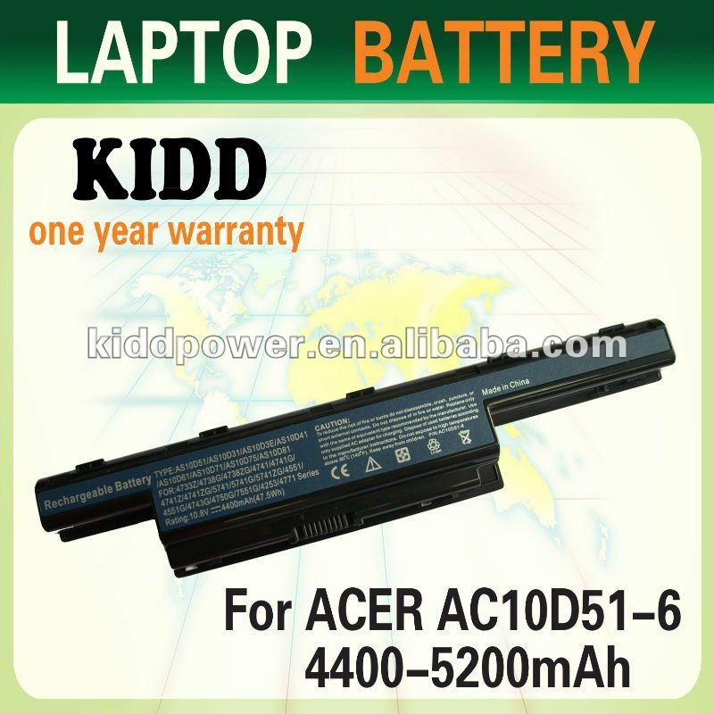 4400mah/5200mah Laptop Battery 10d51 For Acer