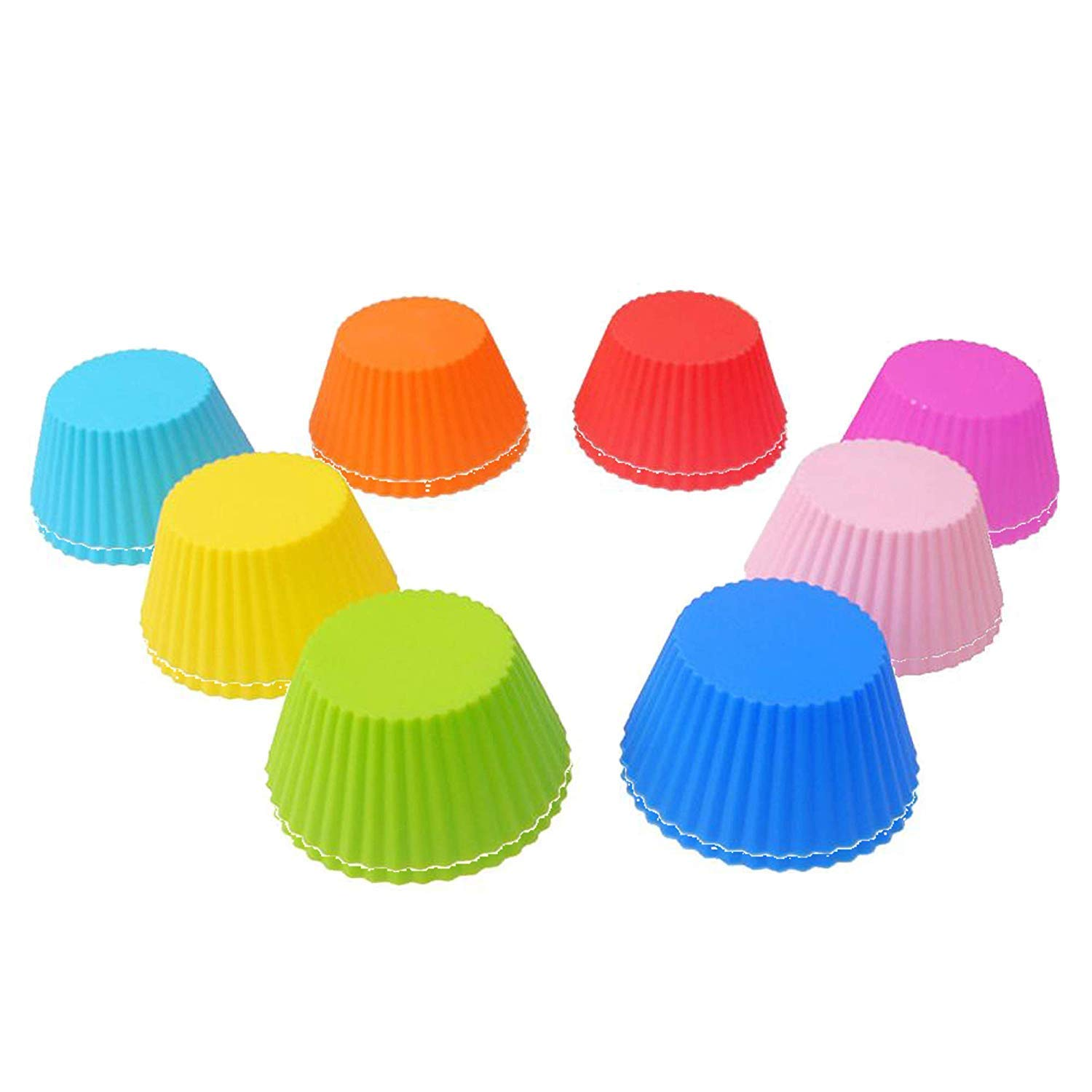 16 PCS Silica gel Eco-Friendly Cake Cup Cupcake Cases Muffin Baking Cup Small Cake Mold Silicone DIY Baking Cups - Round (8 Colors)