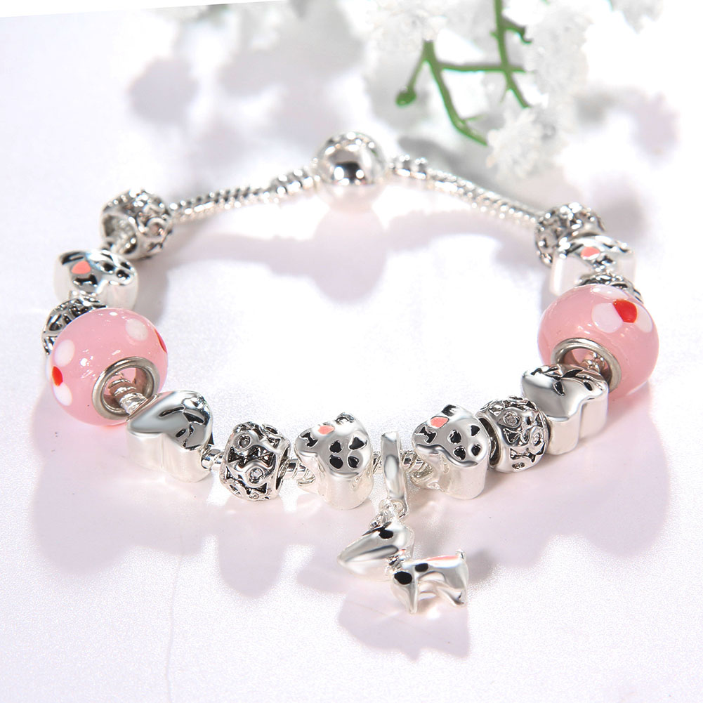 Fashion Women Jewelry Stainless Steel Snake Chain Dog Shape Charm Glass Crystal Bracelet