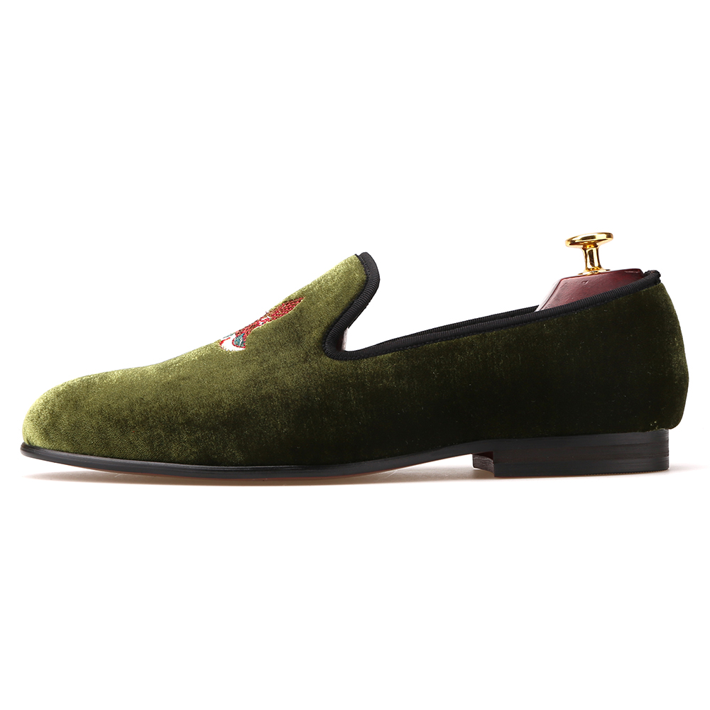 men embroidery bird green shoes dress fFvWE