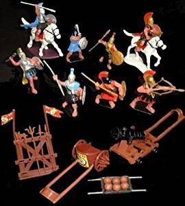 Bmc223a Greeks 8 Figures in 8 Poses W/2 Horses and Accessories (Painted) (60mm) Toy Soldiers War Combat Toy Model Plastic Military