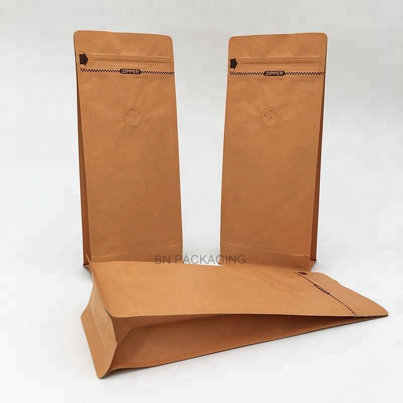 Çin toptan kahverengi kraft kağıt kutusu alt tek yönlü vana kilitli kahve ambalaj çanta