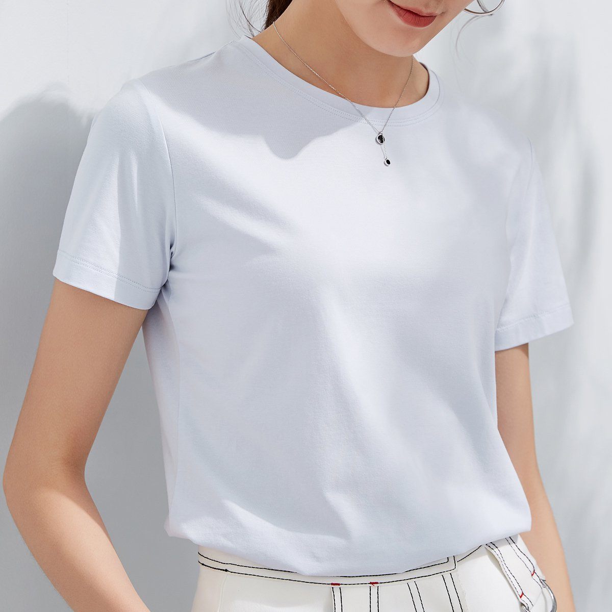 plain thick spandex fabric white O neck or v-neck cheap wholesale high quality women tshirt