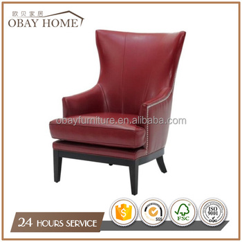 French Leather Chairs with red color Antique Wooden Restaurant armchairs baroque armchairs