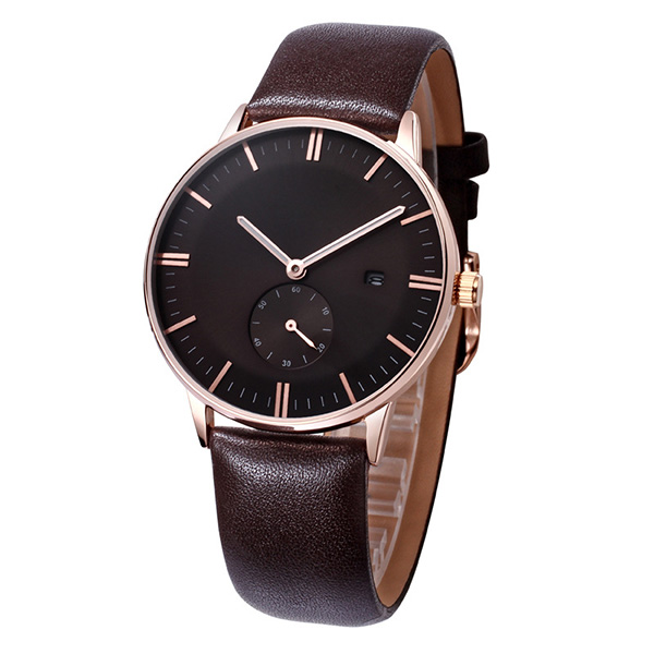 Hot selling men leather quartz movement 2017 spring watches