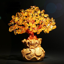 Hot koop chinese stijl citrien lucky tree crystal decoratie ambachten