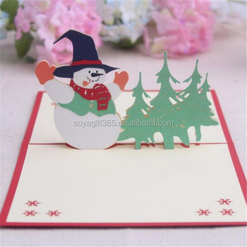 3d Pop Up Christmas Tree Snowman Cartoon Birthday Greeting Cards Buy Greeting Card Folding Handmade Card Blessing Cards Product On Alibaba Com