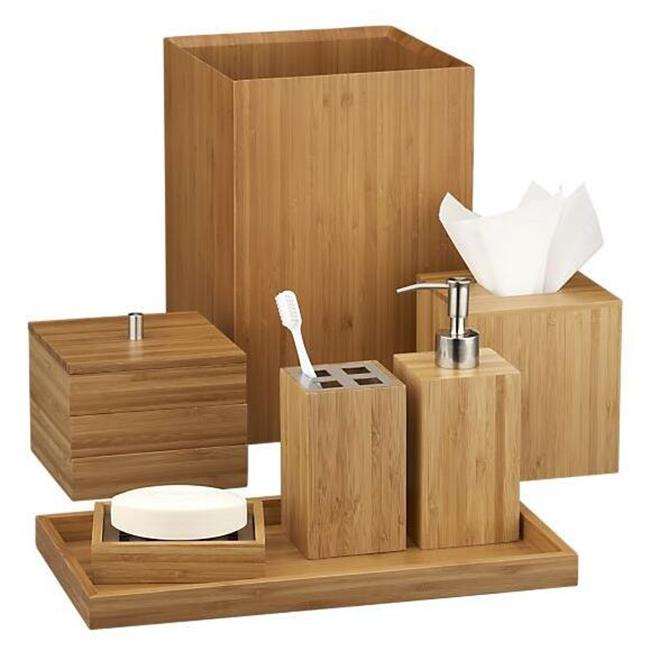 Hotel Balfour Bamboo Bathroom Accessories Set With Soap Dispenser