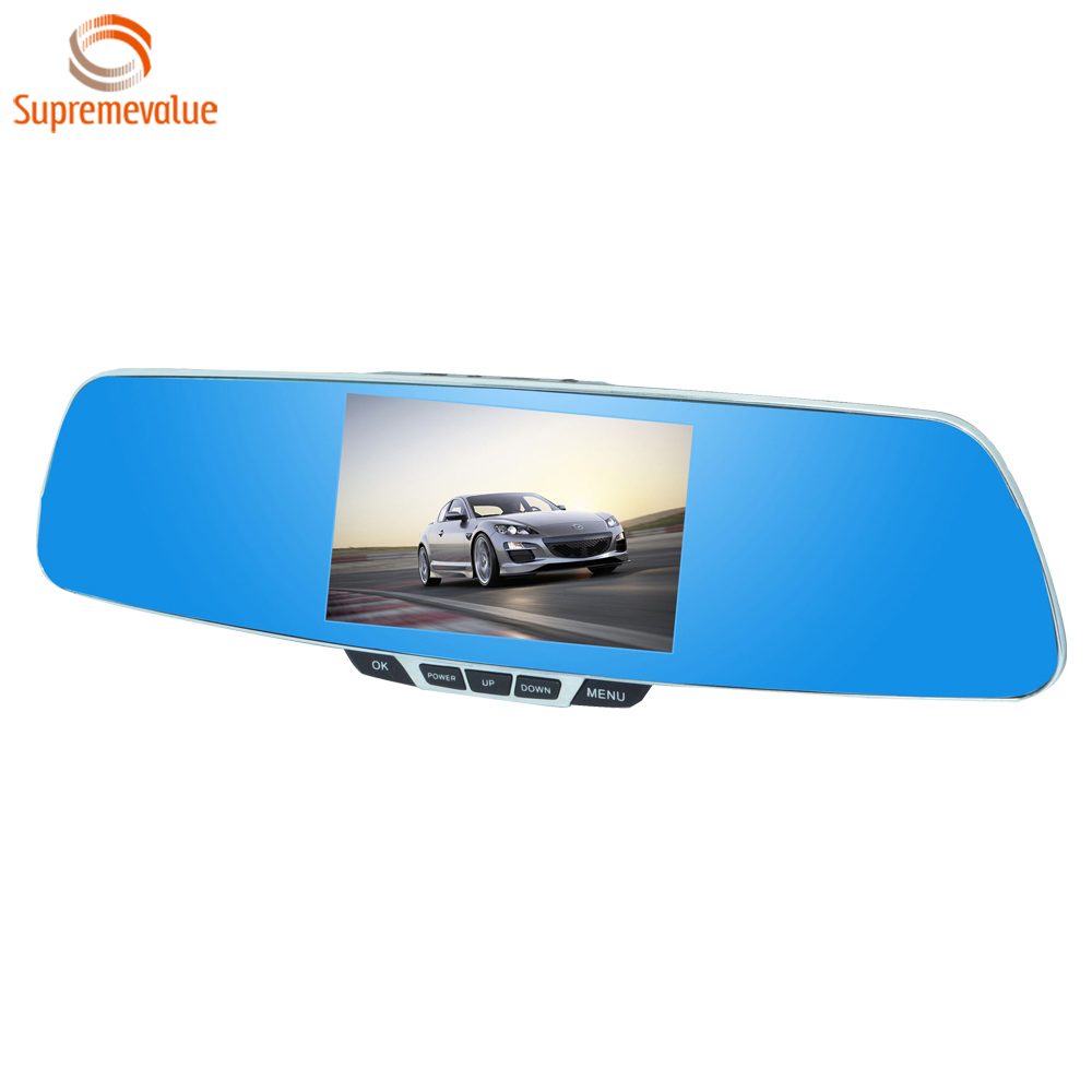 "Q9 China Supplier Rear View Mirror Car Camera DVR Supports 5"" Screen and G-Sensor Dual Lens Cam"