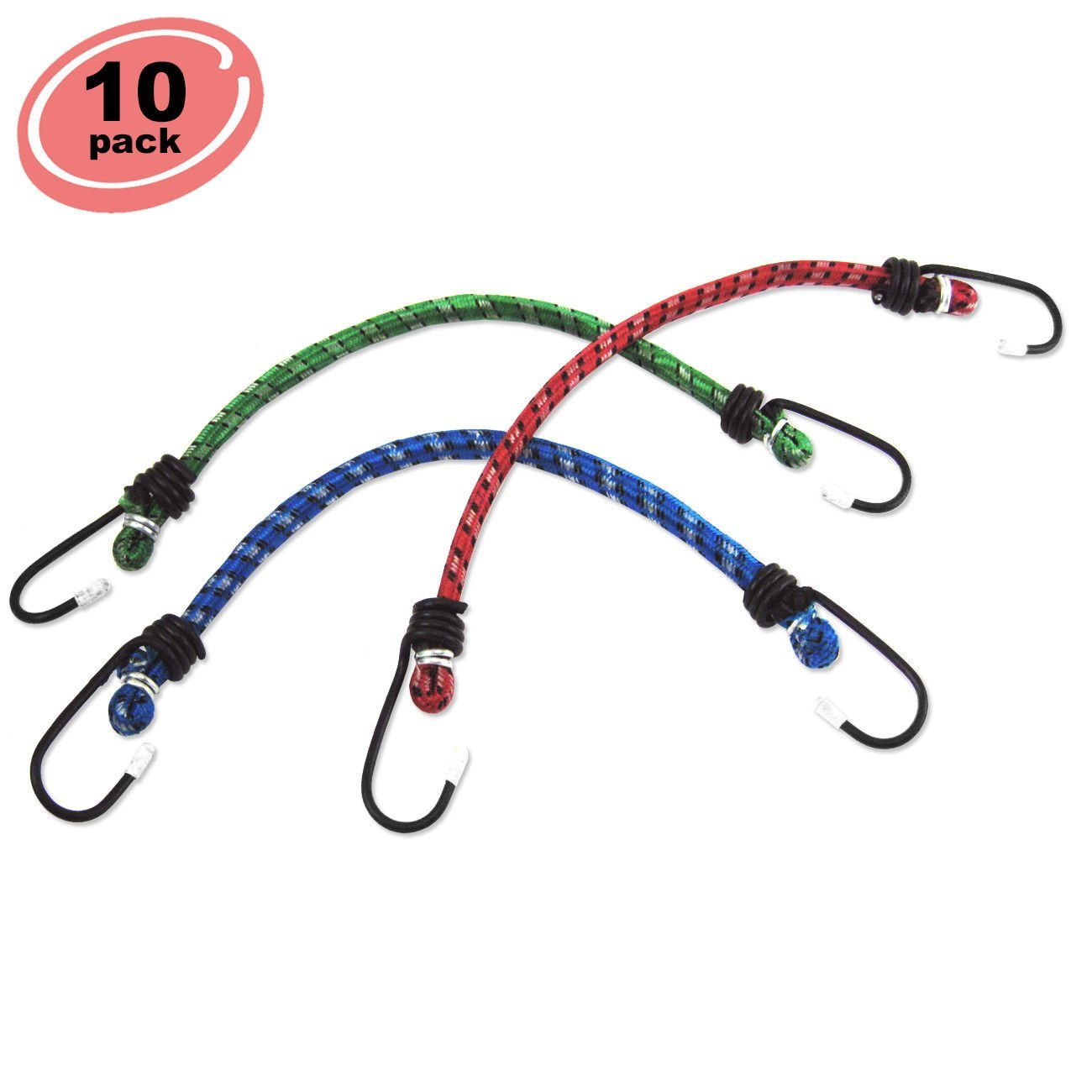 "ESKALEX>>10pc Bungee Cord 18"" inch Heavy Duty Straps 2 Hooks Tie Down Set and Bungee Cord 18"" 10 PC"