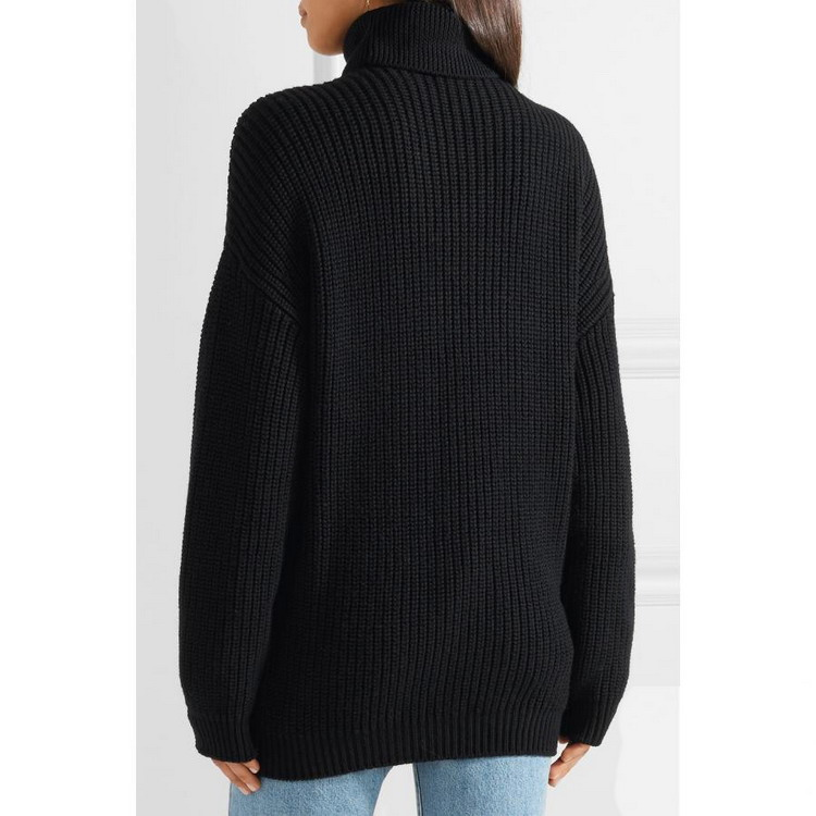 Woolen Tight High Turtleneck With Handed Flower Women Sweater Winter Pullover Sweaters