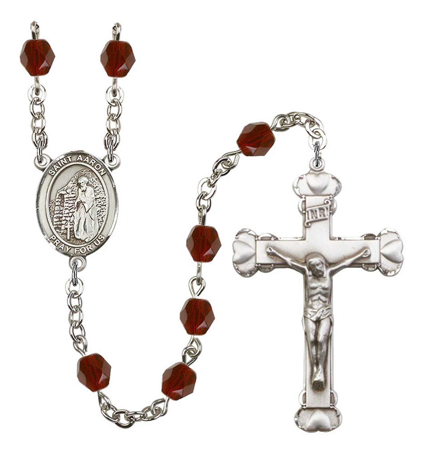 Silver Finish St. Aaron Rosary with 6mm Garnet Color Fire Polished Beads, St. Aaron Center, and 1 5/8 x 1 inch Crucifix, Gift Boxed