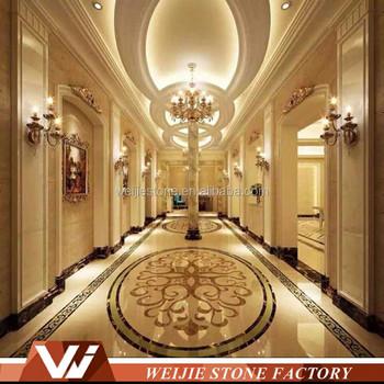 Grand Hotel Lobby Marble Floor Pattern Waterjet Inlay