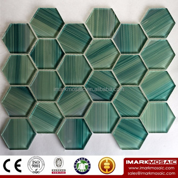 Imark Green Wood Texture Hexagon Pattern Glossy Gl Mosaic Tile For Decorative