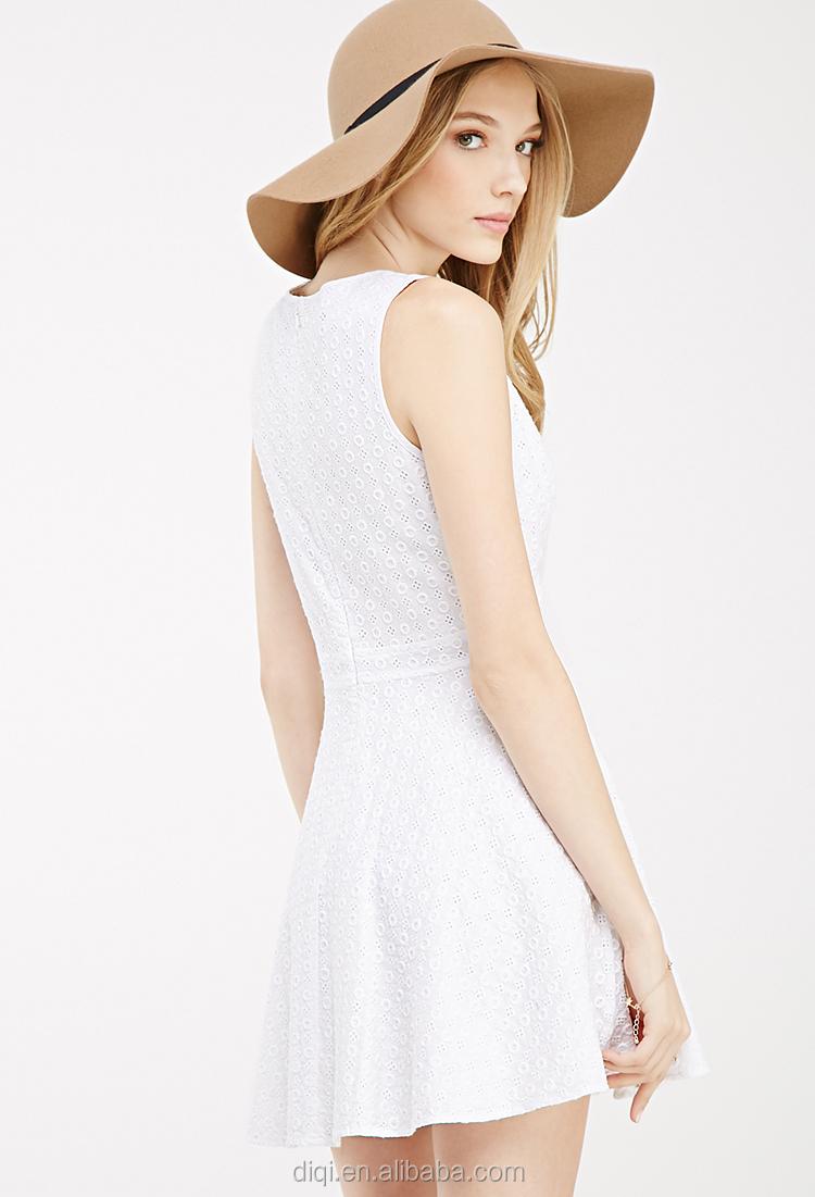 White Cotton Short Dress