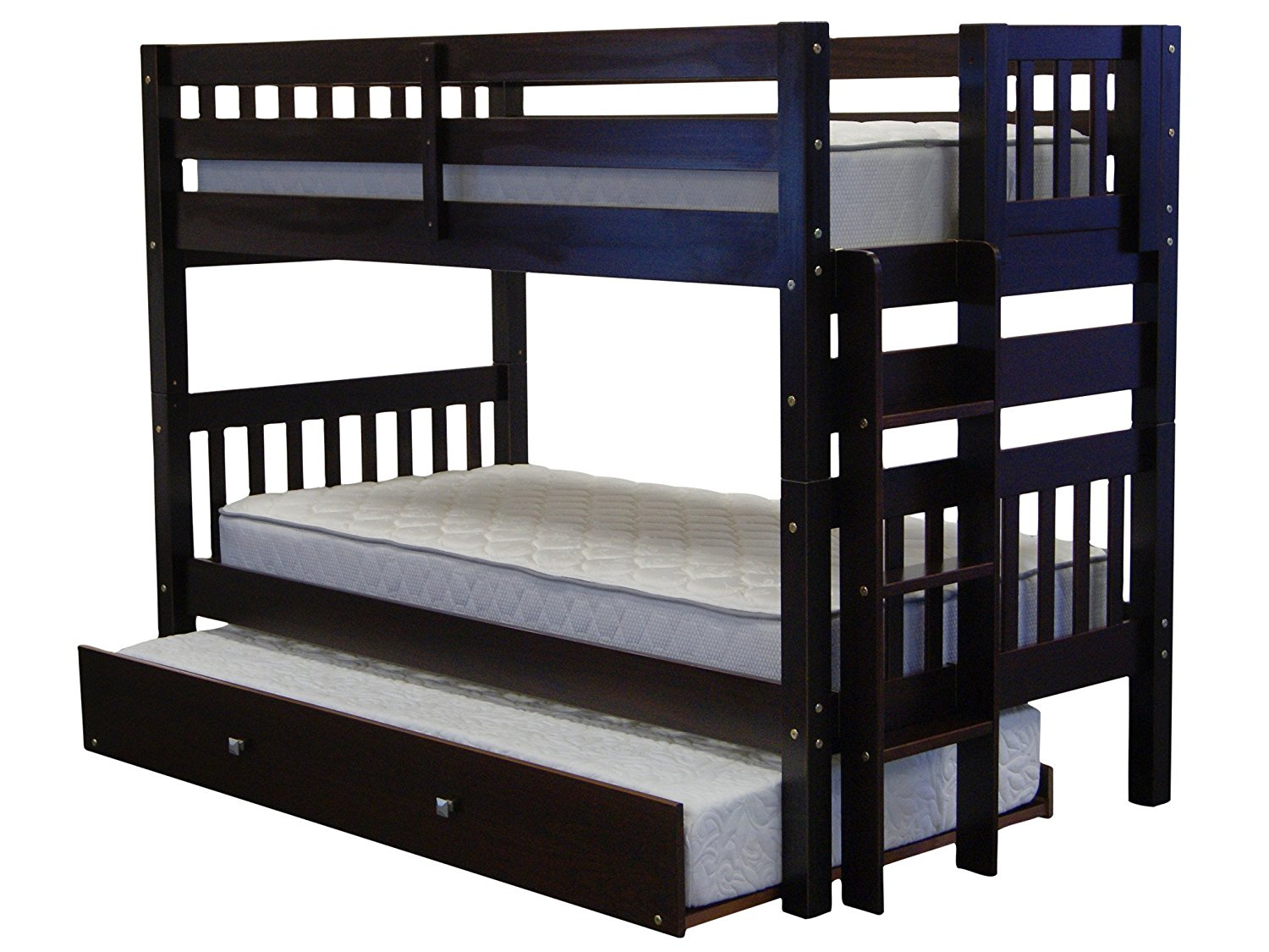 Bedz King Bunk Beds Twin over Twin Mission Style with End Ladder and a Twin Trundle, Cappuccino