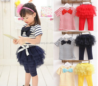 Free shipping cotton children clothing fashion Baby girl's stripe t-shirt tops + leggings 2PCS baby girls fall suit Retail
