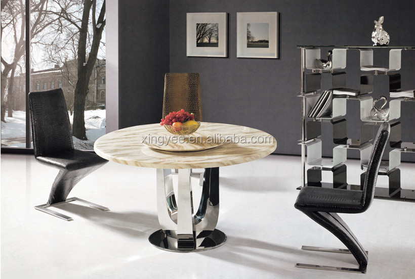 Modern Dining Room Stainless Steel Table Furniture Gl Marble Round With Rotating Centre Granite