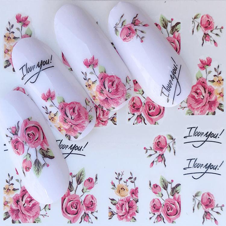 Özel logo baskılı dekoratif çiçek serisi nail art su transferi çıkartmalar tam sarar tırnak çıkartmaları