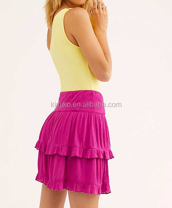 Women And Girl Design  Flirty Ruffle Tiers That Rise Up On The Side Mini Dress