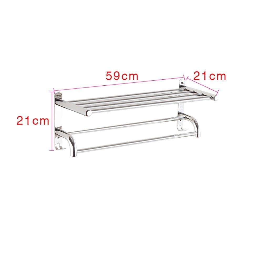 EQEQ Bath Room Towel Rack Towel Rack Stainless Steel Towel Rack Bath Rack Bath Rooms 304 Rooms 2 Layer Hardware Towel Rail Trailer Towel Storage Rack (Size: 70 cm).