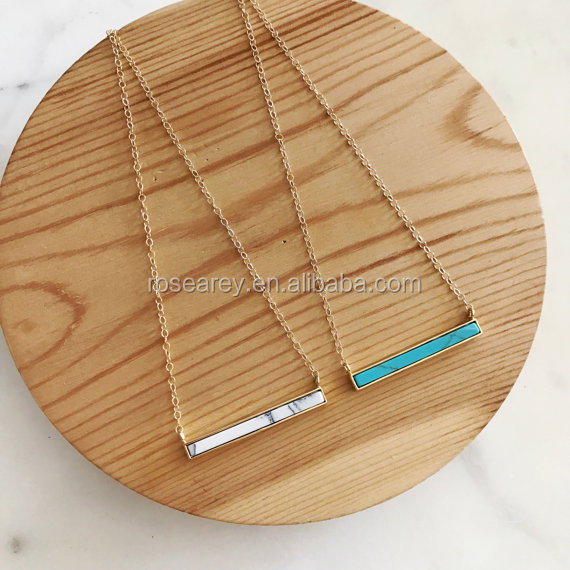 Natural Stone  Delicate Women Skinny Blue Silver Turquoise Bar Necklace