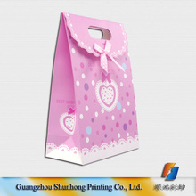 Custom luxury ribbon tie paper gift bags with logo