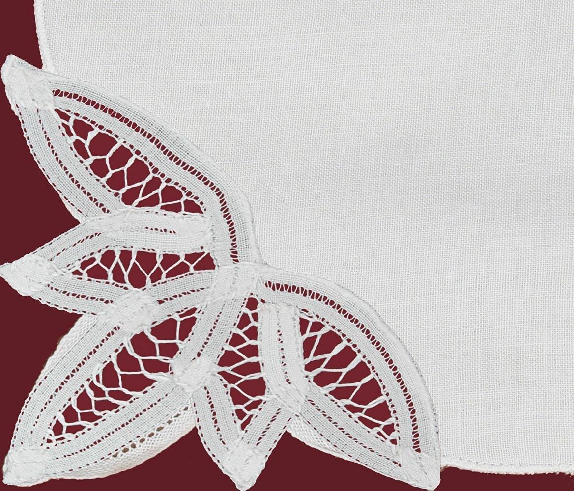 Creative Linens Battenburg Lace Napkin Set White, 100% Cotton (Napkins-8pcs)