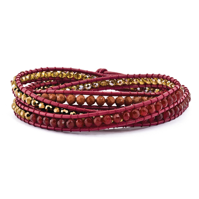 West Coast Jewelry Crystal/Red Quartz/Red Sand Stone & Leather Multi-wrap Bracelet