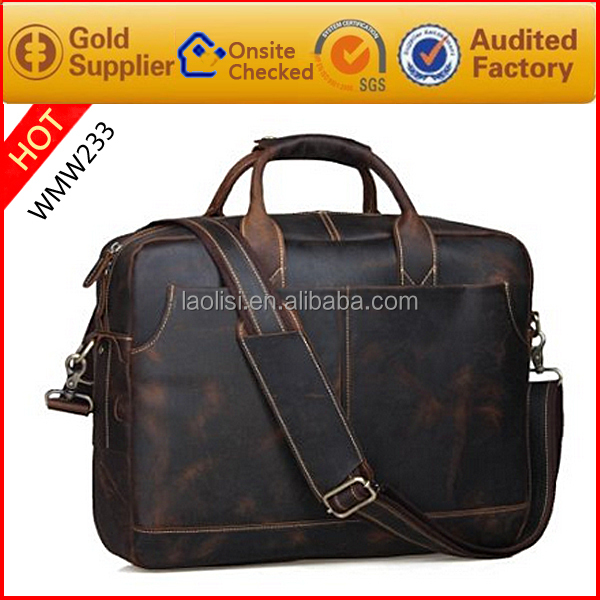 Hot fashion crazy horse leather computer cases designer laptop bags for men