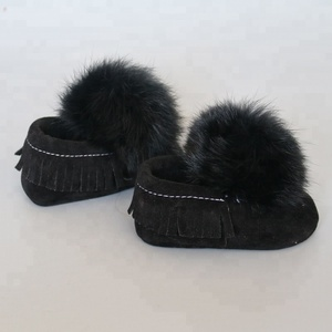 Infant baby fur pom pom walking shoes with leather tassels